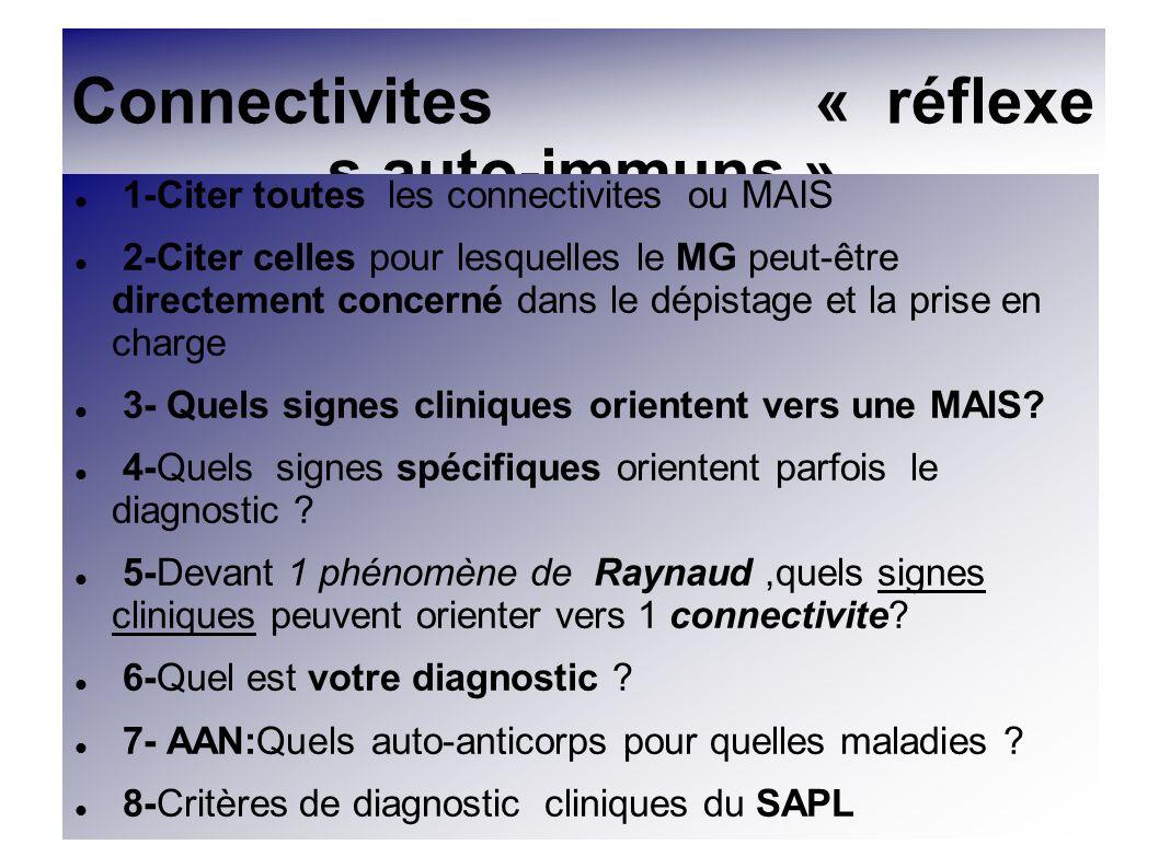 1/CONNECTIVITES ou MAIS Lupus systémique(LS) Polyarthrite Rhumatoïde (PR) Syndrome de Gougerot Sjögren ( GS) Sclérodermie ( SS ) Nombreux syndromes Polymyosite (PM)et Dermatomyosite (DM) Connectivite mixte (syndrome de Sharp) Vascularites primitives (CS,W,PAN,H..) Polychondrite atrophiante (PCA ) de chevauchement