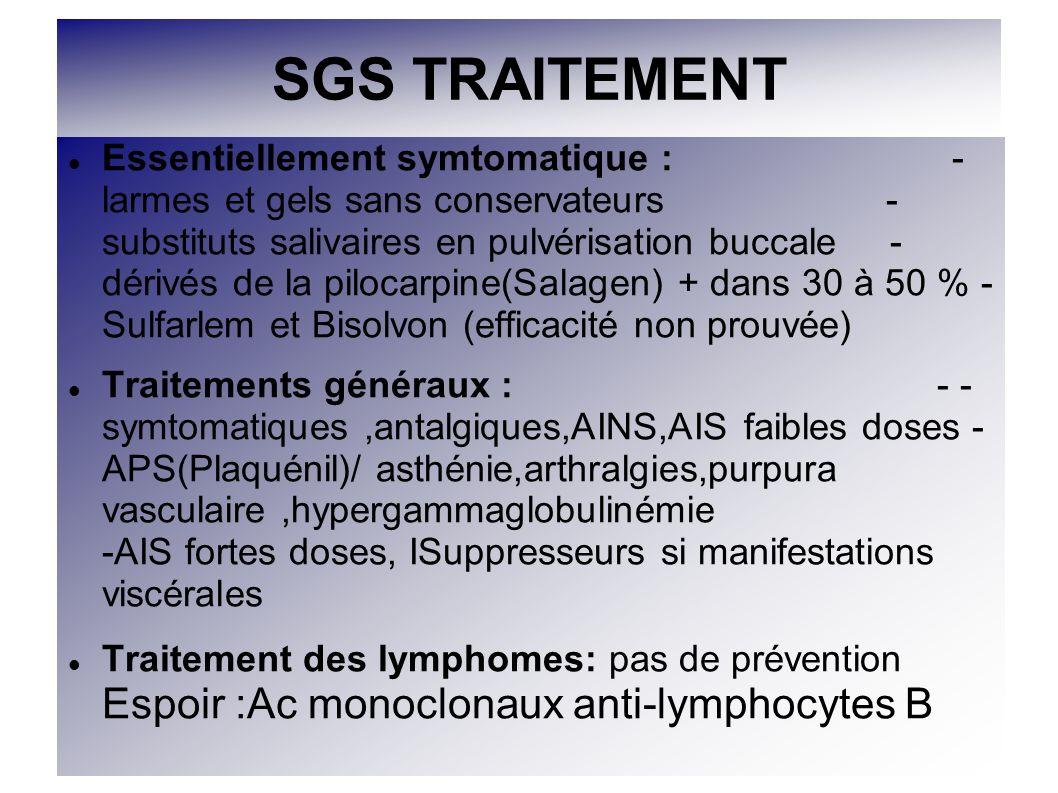 SGS TRAITEMENT Essentiellement symtomatique : - larmes et gels sans conservateurs - substituts salivaires en pulvérisation buccale - dérivés de la pil