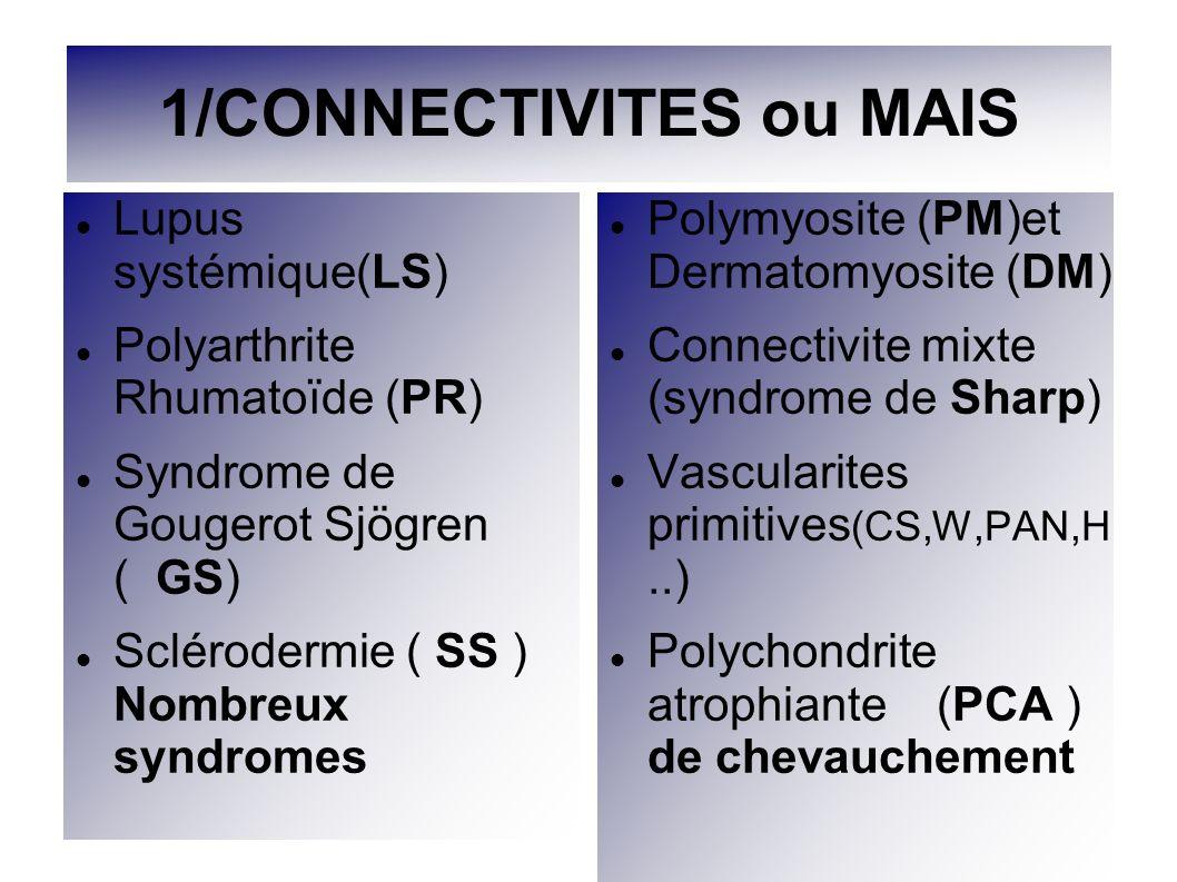 1/CONNECTIVITES ou MAIS Lupus systémique(LS) Polyarthrite Rhumatoïde (PR) Syndrome de Gougerot Sjögren ( GS) Sclérodermie ( SS ) Nombreux syndromes Po