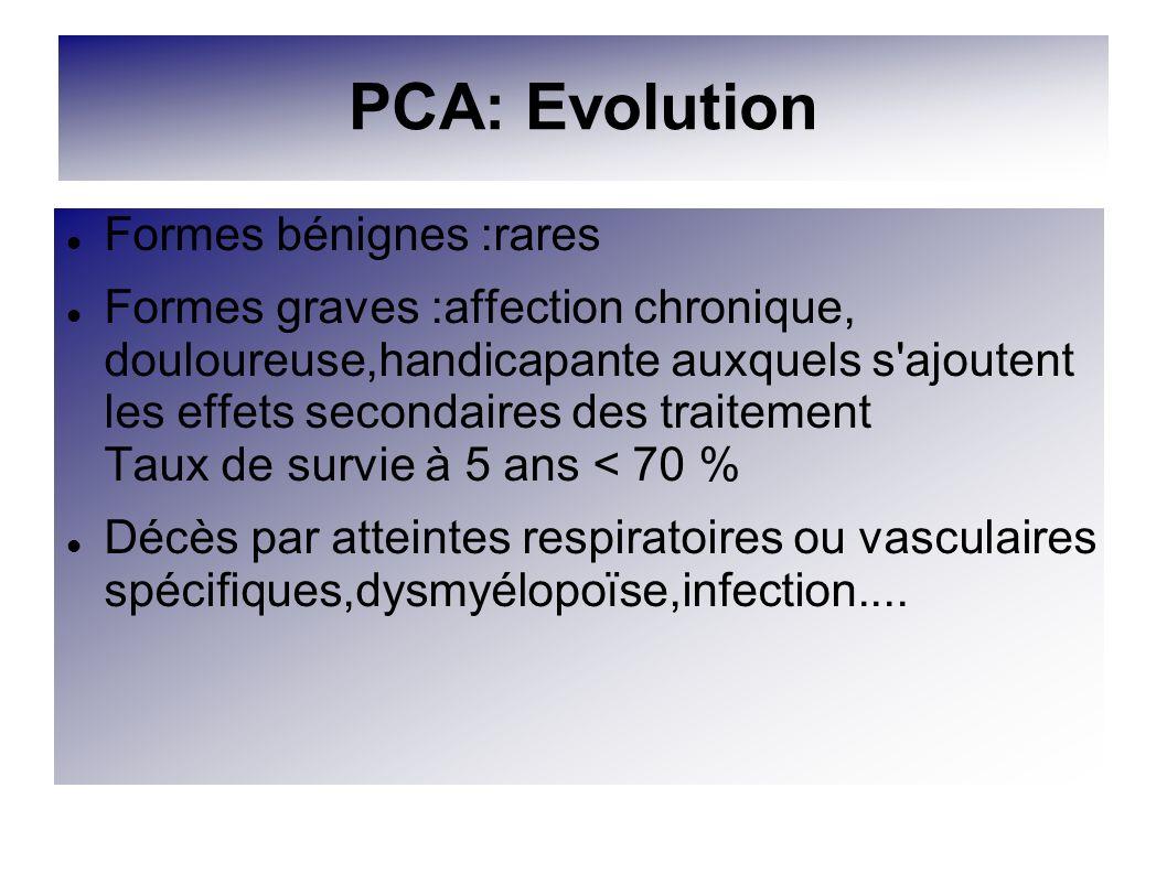 PCA: Evolution Formes bénignes :rares Formes graves :affection chronique, douloureuse,handicapante auxquels s'ajoutent les effets secondaires des trai