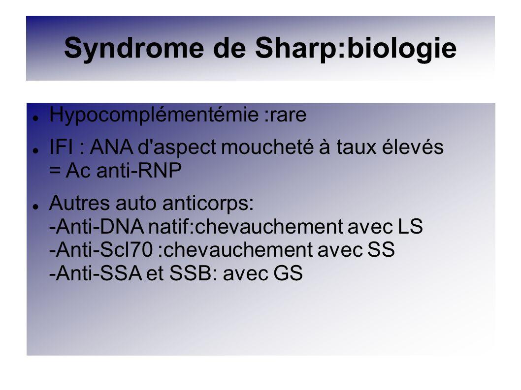 Syndrome de Sharp:biologie Hypocomplémentémie :rare IFI : ANA d'aspect moucheté à taux élevés = Ac anti-RNP Autres auto anticorps: -Anti-DNA natif:che