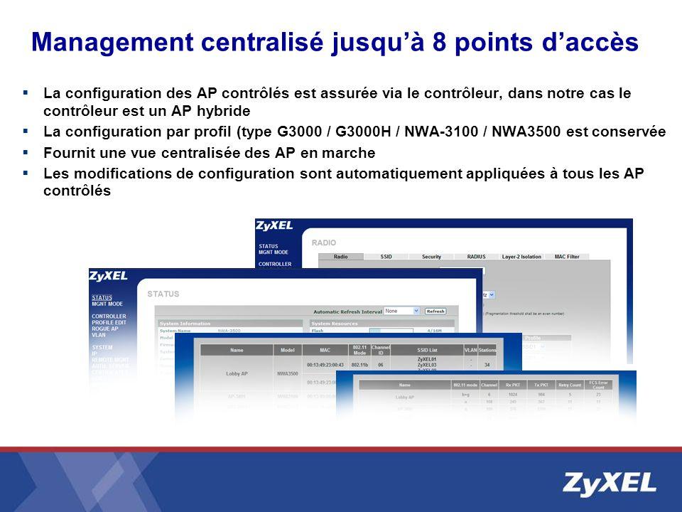 Management centralisé jusquà 8 points daccès La configuration des AP contrôlés est assurée via le contrôleur, dans notre cas le contrôleur est un AP h