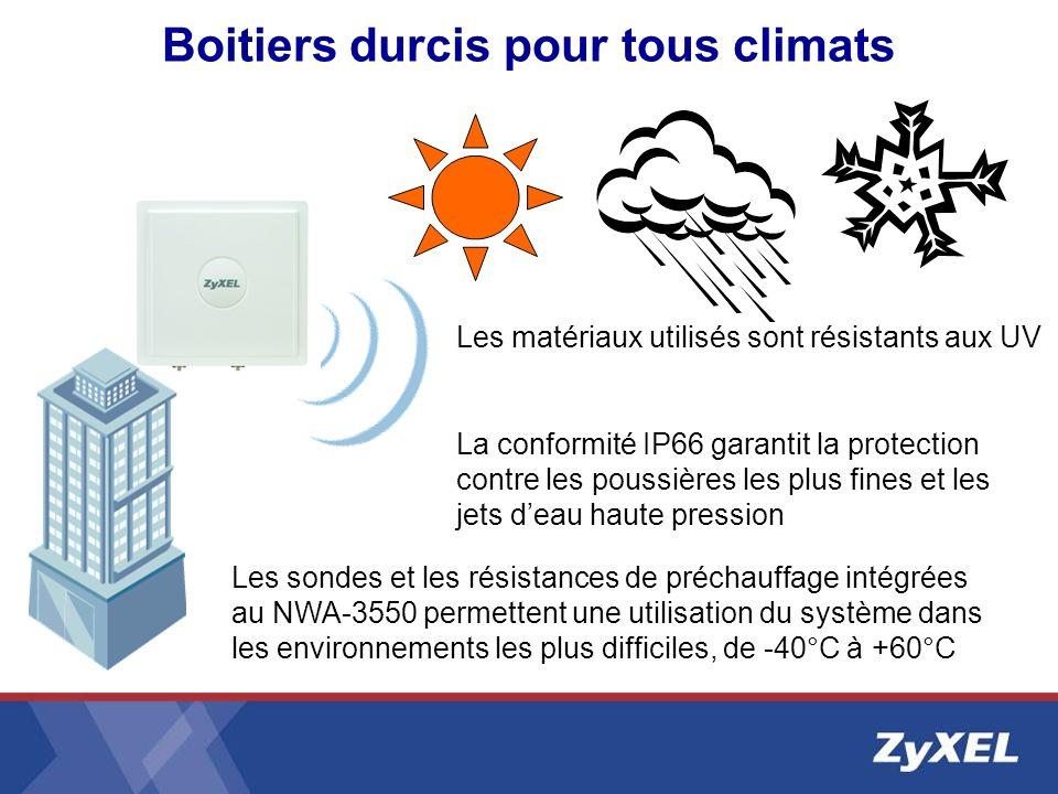 Boitiers durcis pour tous climats Les matériaux utilisés sont résistants aux UV La conformité IP66 garantit la protection contre les poussières les pl