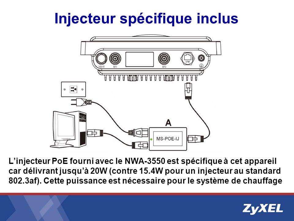 Injecteur spécifique inclus Linjecteur PoE fourni avec le NWA-3550 est spécifique à cet appareil car délivrant jusquà 20W (contre 15.4W pour un inject