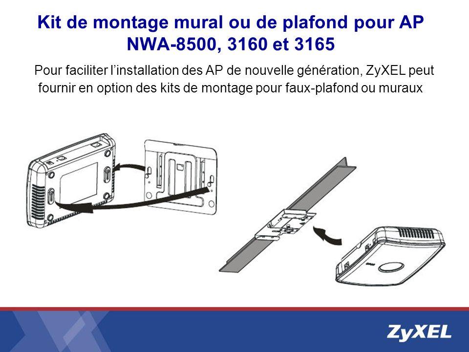 Kit de montage mural ou de plafond pour AP NWA-8500, 3160 et 3165 Pour faciliter linstallation des AP de nouvelle génération, ZyXEL peut fournir en op