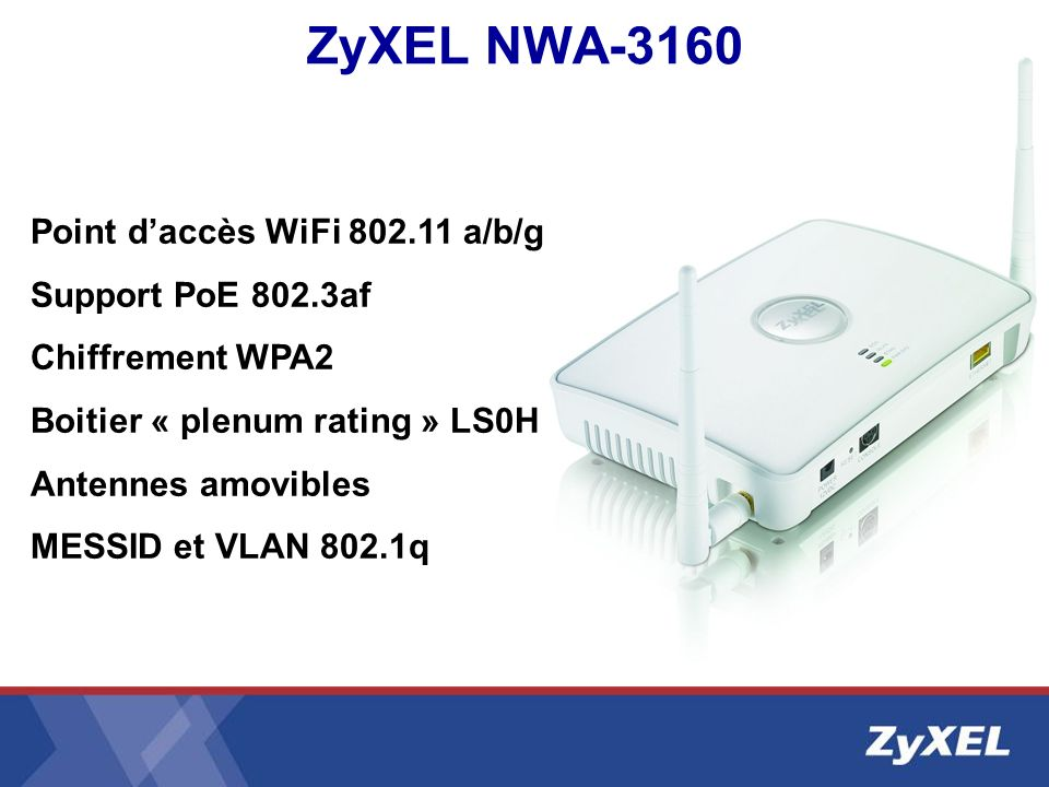 ZyXEL NWA-3160 Point daccès WiFi 802.11 a/b/g Support PoE 802.3af Chiffrement WPA2 Boitier « plenum rating » LS0H Antennes amovibles MESSID et VLAN 80