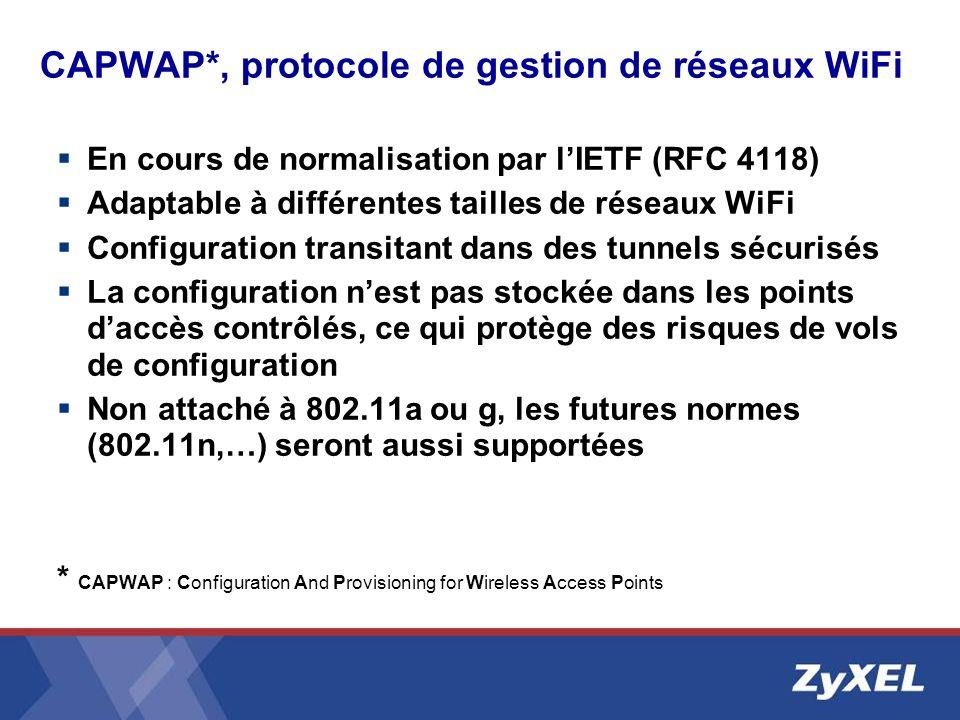CAPWAP*, protocole de gestion de réseaux WiFi En cours de normalisation par lIETF (RFC 4118) Adaptable à différentes tailles de réseaux WiFi Configura