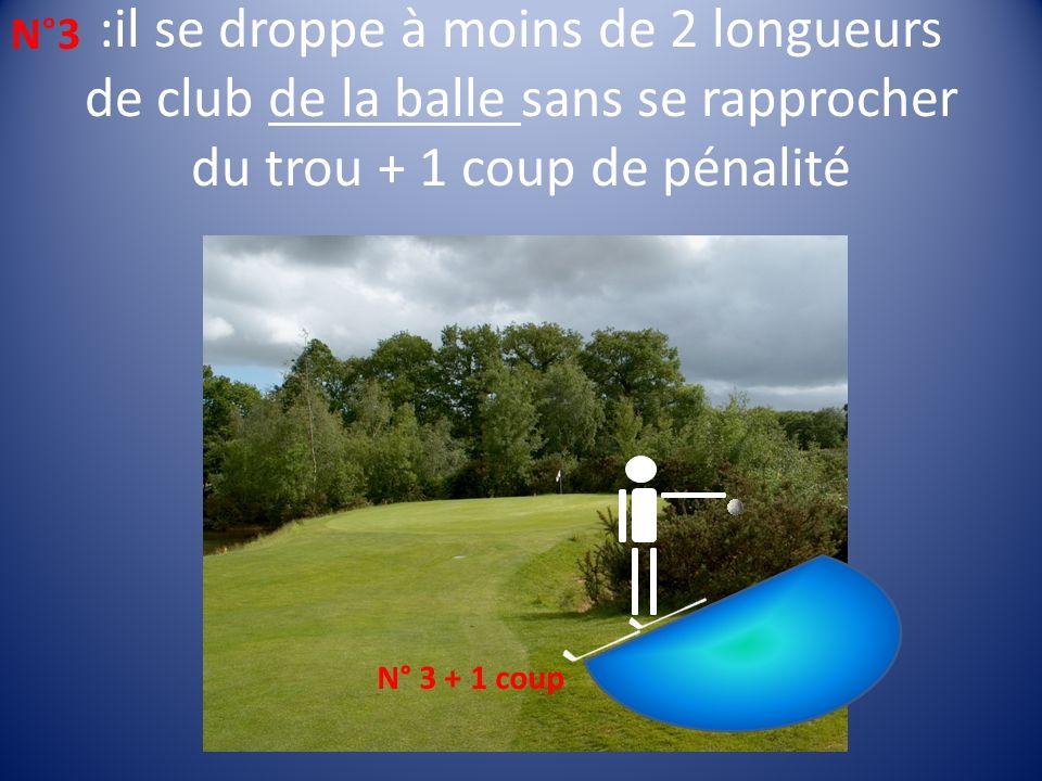 :il se droppe à moins de 2 longueurs de club de la balle sans se rapprocher du trou + 1 coup de pénalité N°3N°3 N° 3 + 1 coup