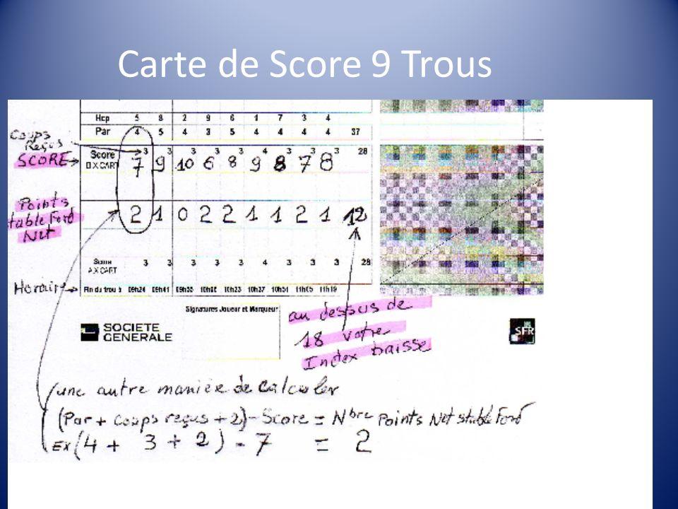 Carte de Score 9 Trous