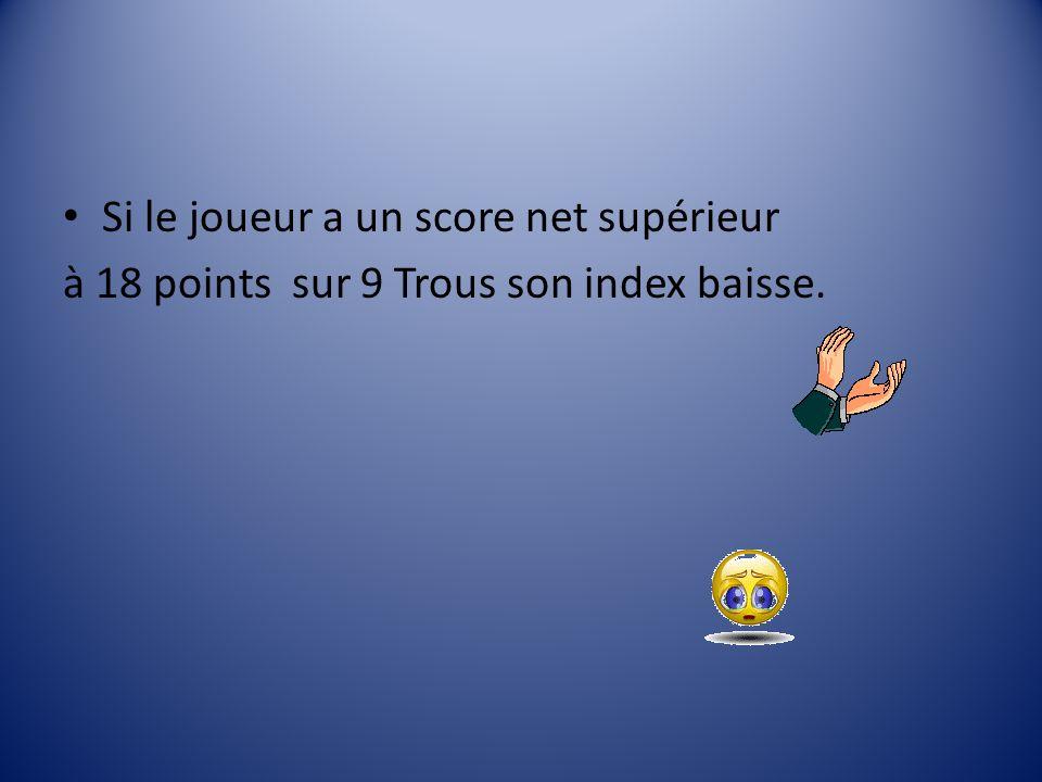 Si le joueur a un score net supérieur à 18 points sur 9 Trous son index baisse.