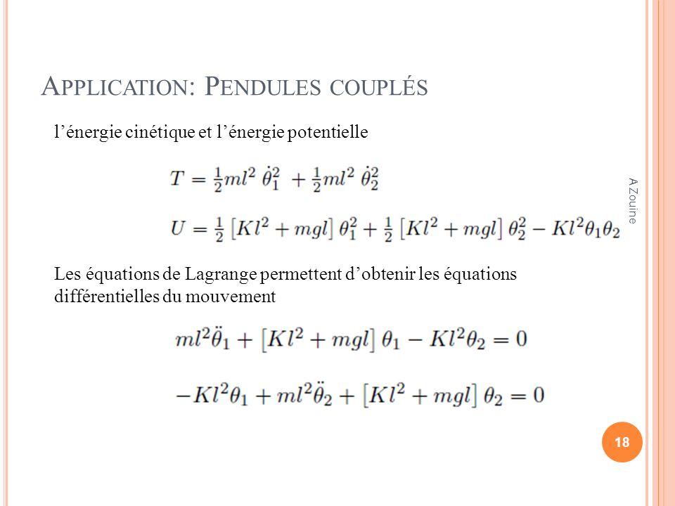 A PPLICATION : P ENDULES COUPLÉS lénergie cinétique et lénergie potentielle Les équations de Lagrange permettent dobtenir les équations différentielle