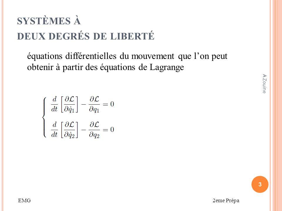 SYSTÈMES À DEUX DEGRÉS DE LIBERTÉ Etudions les particularités de ces deux solutions particulières : – La première solution particulière sécrit : x1 et x2 doivent vérifier le système déquations différentielles, ce qui donne 14 A Zouine