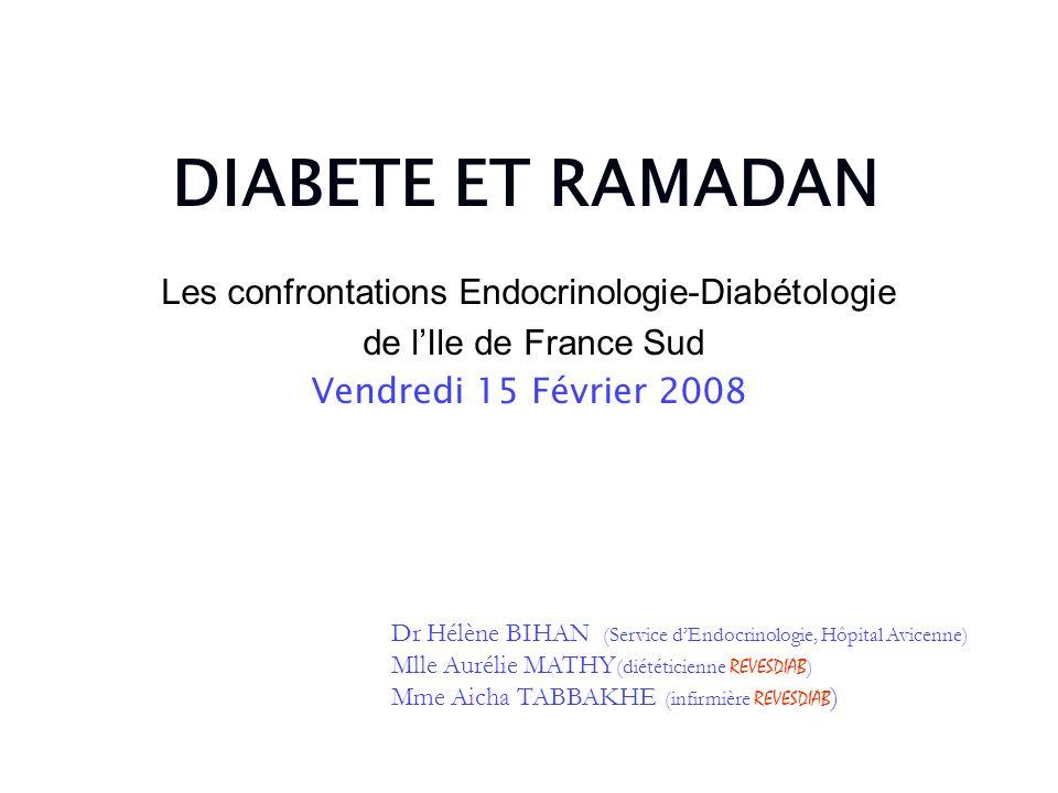 DIABETE ET RAMADAN Les confrontations Endocrinologie-Diabétologie de lIle de France Sud Vendredi 15 Février 2008 Dr Hélène BIHAN (Service dEndocrinolo