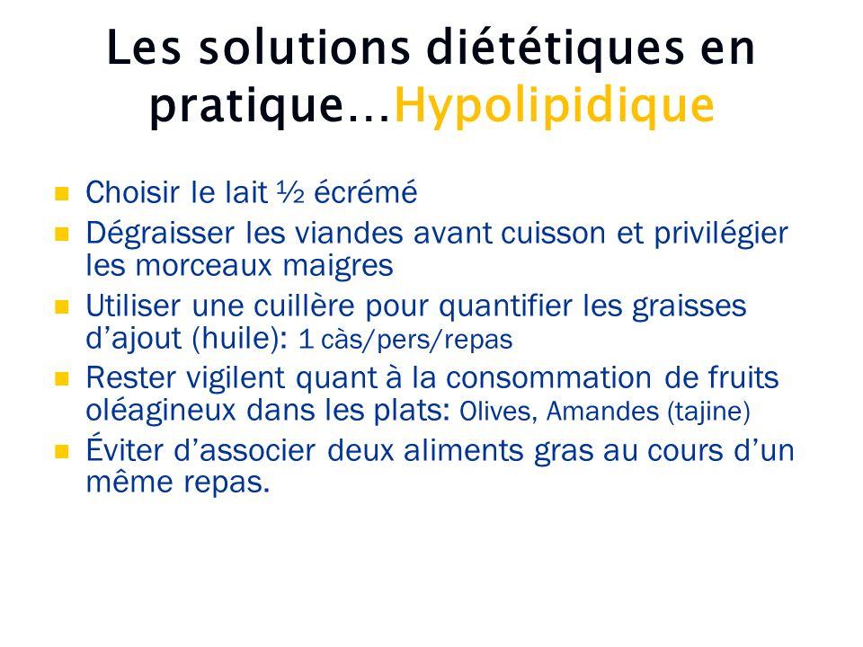 Les solutions diététiques en pratique…Hypolipidique Choisir le lait ½ écrémé Dégraisser les viandes avant cuisson et privilégier les morceaux maigres