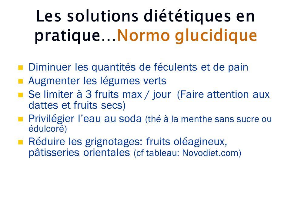 Les solutions diététiques en pratique…Normo glucidique Diminuer les quantités de féculents et de pain Augmenter les légumes verts Se limiter à 3 fruit
