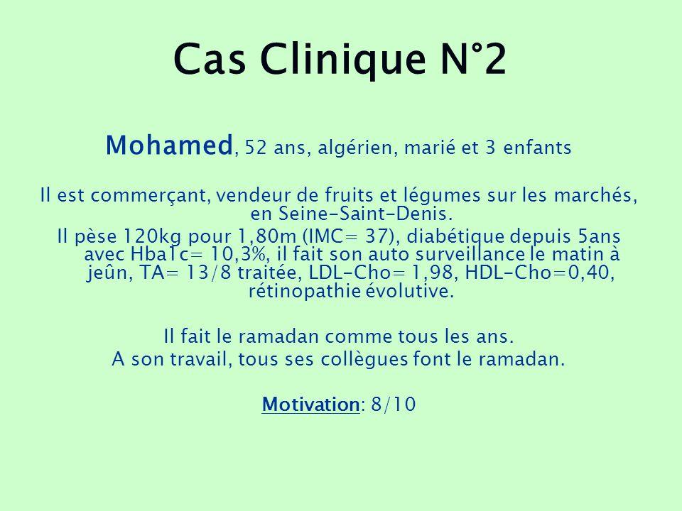 Cas Clinique N°2 Mohamed, 52 ans, algérien, marié et 3 enfants Il est commerçant, vendeur de fruits et légumes sur les marchés, en Seine-Saint-Denis.