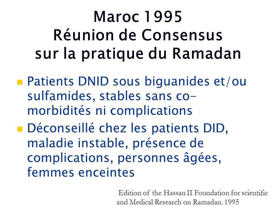 Maroc 1995 Réunion de Consensus sur la pratique du Ramadan Patients DNID sous biguanides et/ou sulfamides, stables sans co- morbidités ni complication