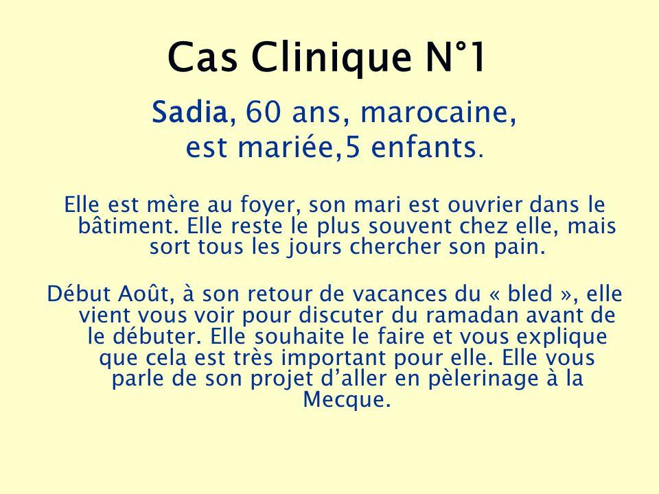 Cas Clinique N°1 Sadia, 60 ans, marocaine, est mariée,5 enfants. Elle est mère au foyer, son mari est ouvrier dans le bâtiment. Elle reste le plus sou