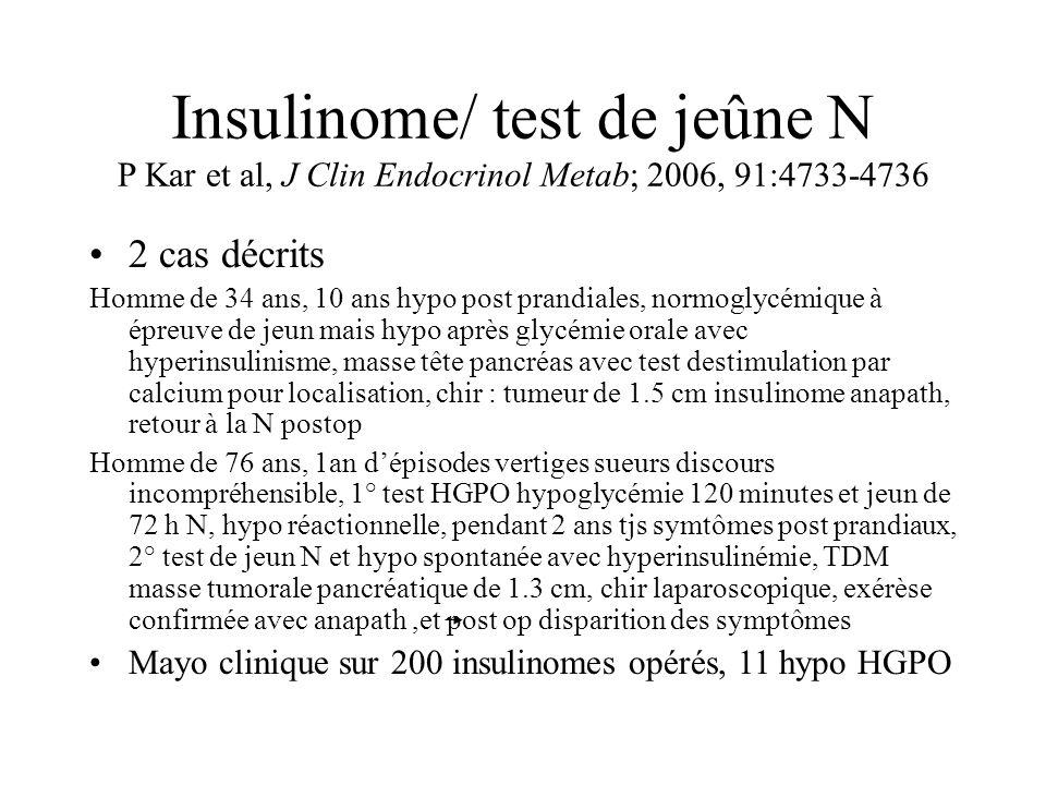 Insulinome/ test de jeûne N P Kar et al, J Clin Endocrinol Metab; 2006, 91:4733-4736 2 cas décrits Homme de 34 ans, 10 ans hypo post prandiales, normo