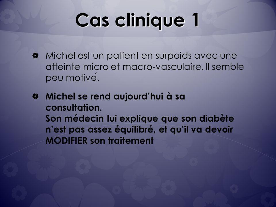Cas clinique 1 Michel est un patient en surpoids avec une atteinte micro et macro-vasculaire.