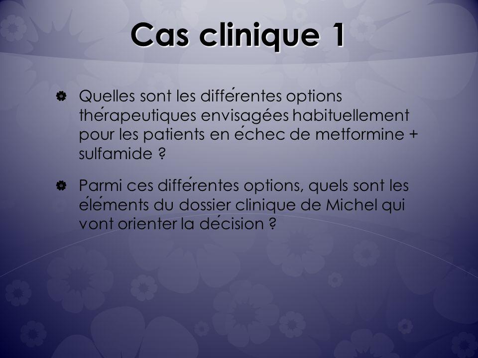 Cas clinique 1 Quelles sont les differentes options therapeutiques envisagées habituellement pour les patients en echec de metformine + sulfamide .