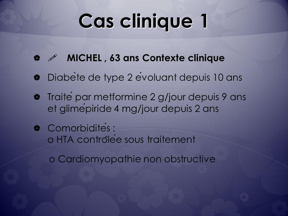 Cas clinique 1 Michel: P: 85 kg T: 168 cm BMI: 30 Tour de taille: 104 cm HbA1c: 7,6% Complication: rétinopathie débutante Michel a tendance à faire des hypoglycémies en fin daprès-midi