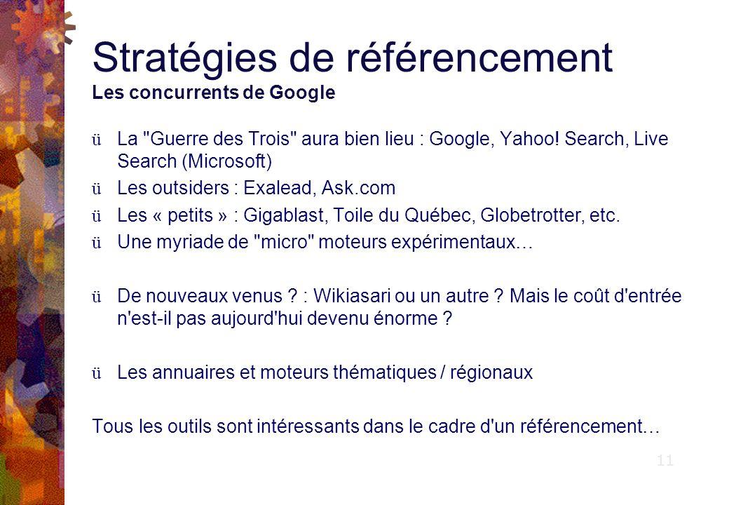 Stratégies de référencement Les concurrents de Google ü La Guerre des Trois aura bien lieu : Google, Yahoo.