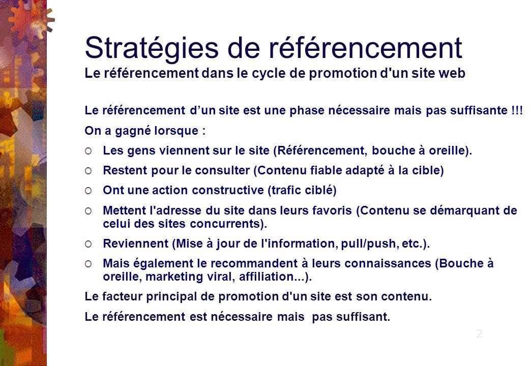 Stratégies de référencement Le référencement dans le cycle de promotion d un site web Le référencement dun site est une phase nécessaire mais pas suffisante !!.