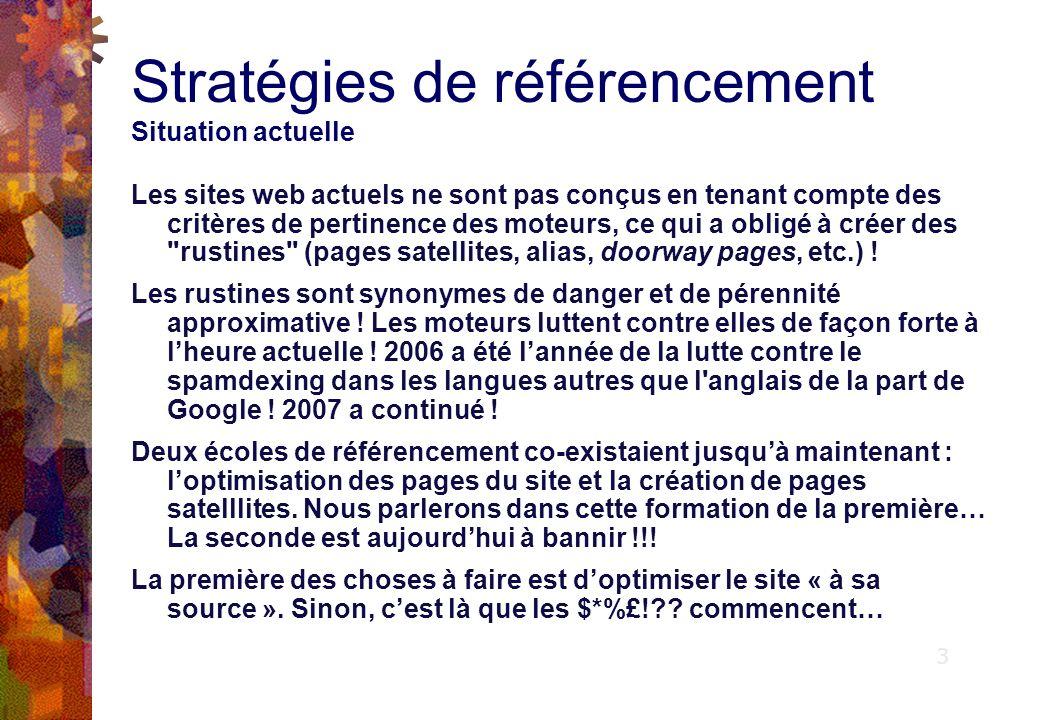 Stratégies de référencement Situation actuelle Les sites web actuels ne sont pas conçus en tenant compte des critères de pertinence des moteurs, ce qui a obligé à créer des rustines (pages satellites, alias, doorway pages, etc.) .
