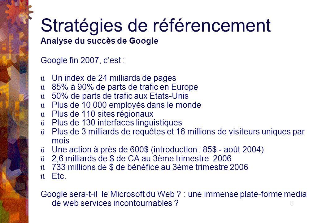 Stratégies de référencement Analyse du succès de Google Pourquoi un tel succès .