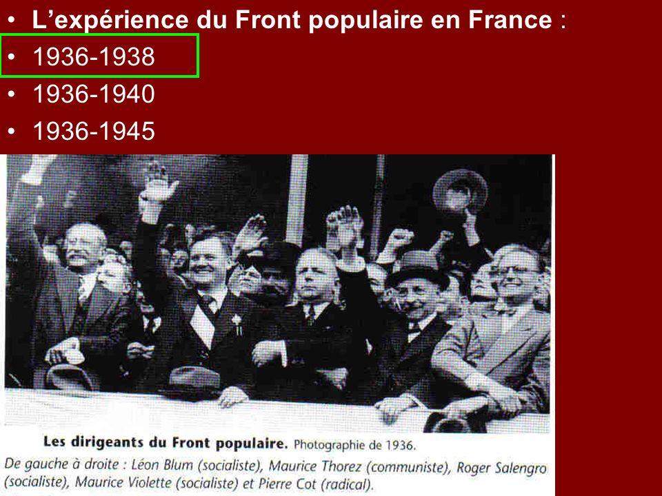 Lexpérience du Front populaire en France : 1936-1938 1936-1940 1936-1945