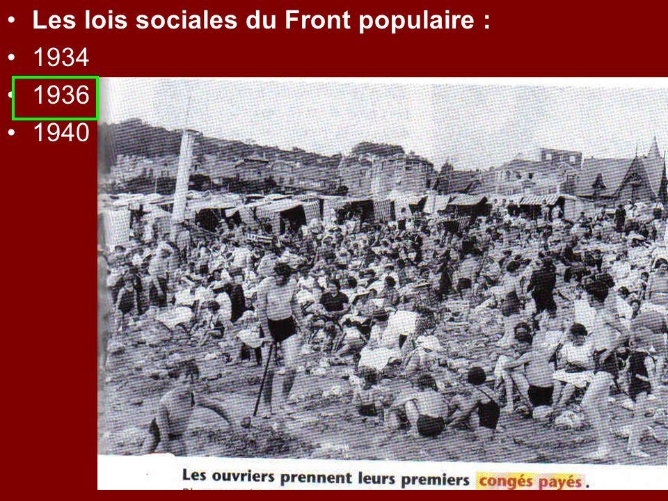 Les lois sociales du Front populaire : 1934 1936 1940