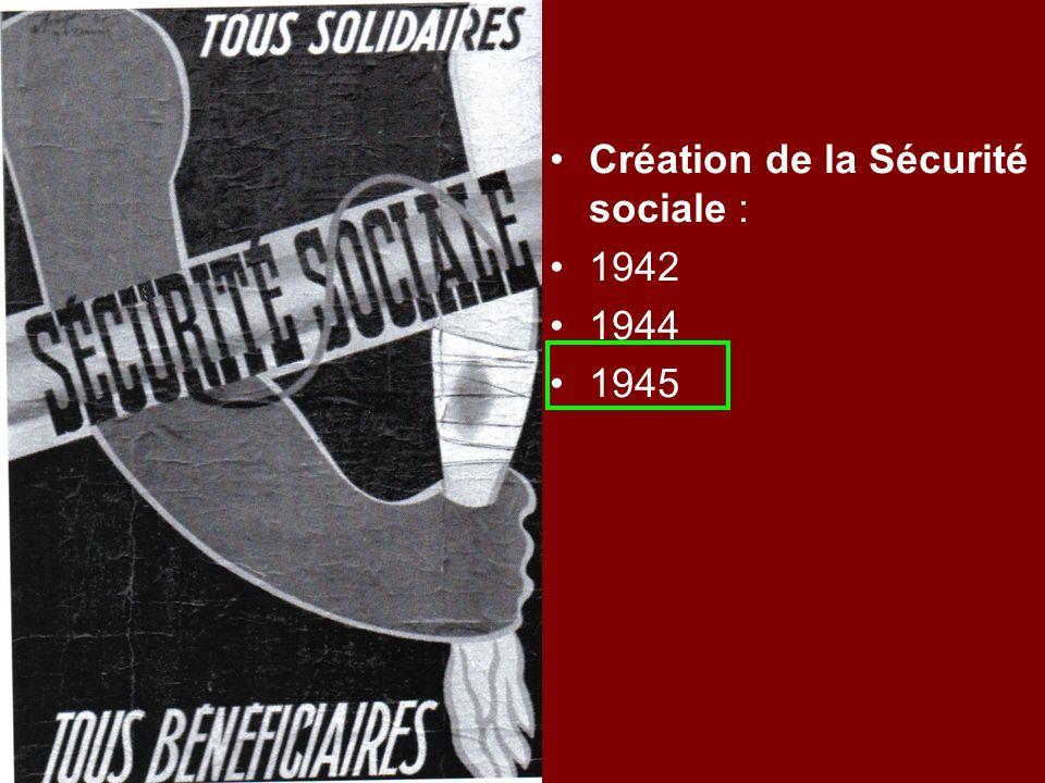 Création de la Sécurité sociale : 1942 1944 1945