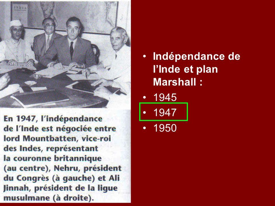 Indépendance de lInde et plan Marshall : 1945 1947 1950