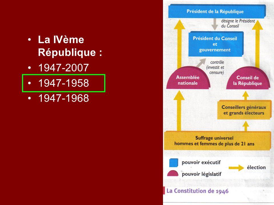 La IVème République : 1947-2007 1947-1958 1947-1968