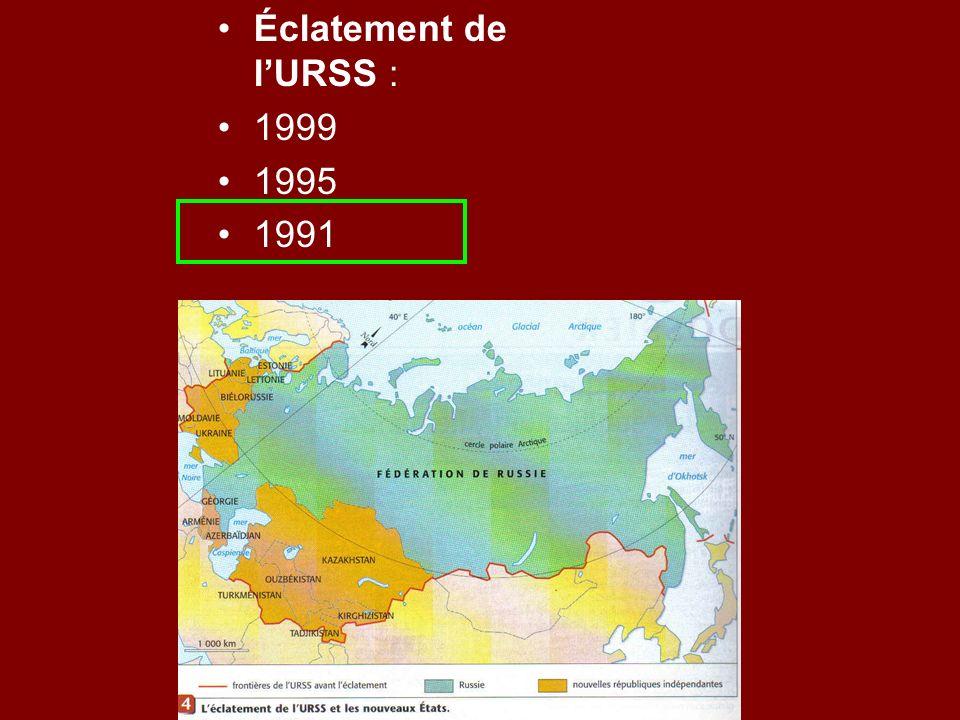Éclatement de lURSS : 1999 1995 1991