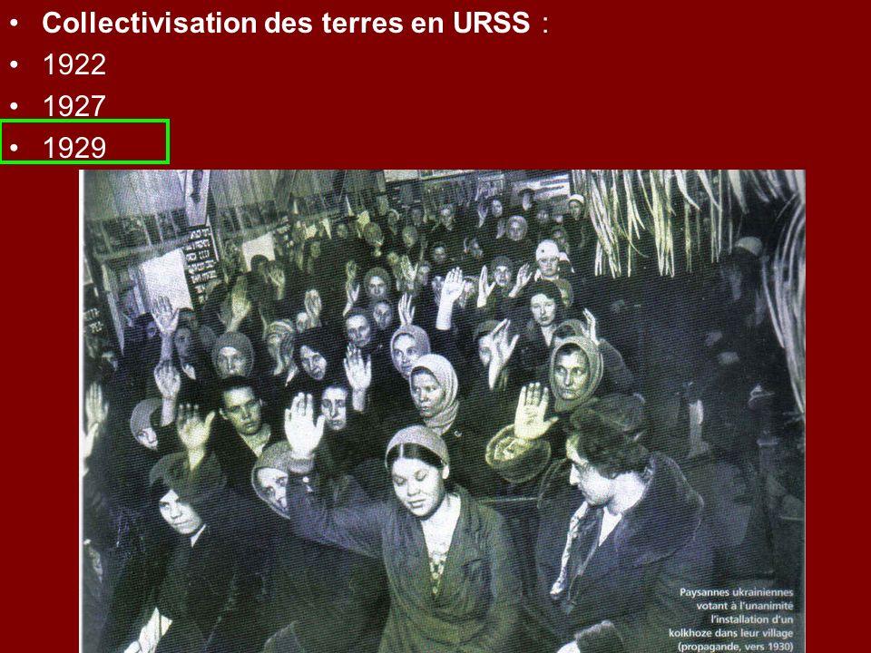 Collectivisation des terres en URSS : 1922 1927 1929