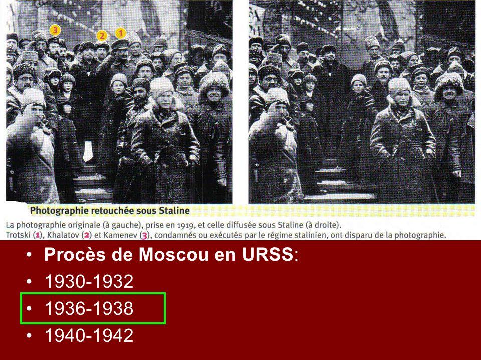 Procès de Moscou en URSS: 1930-1932 1936-1938 1940-1942