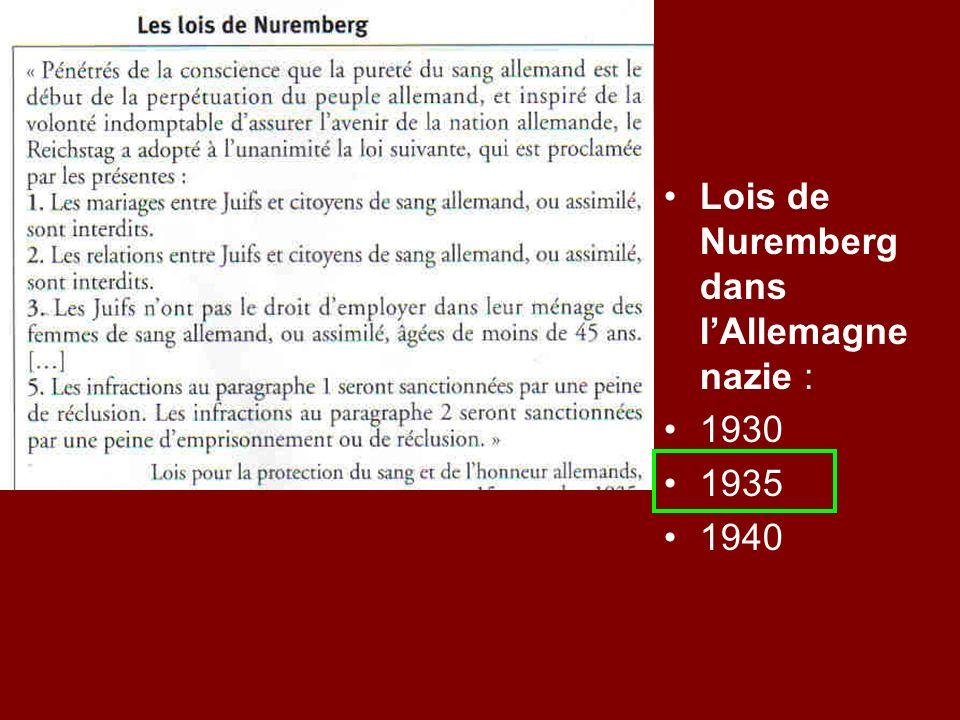 Lois de Nuremberg dans lAllemagne nazie : 1930 1935 1940