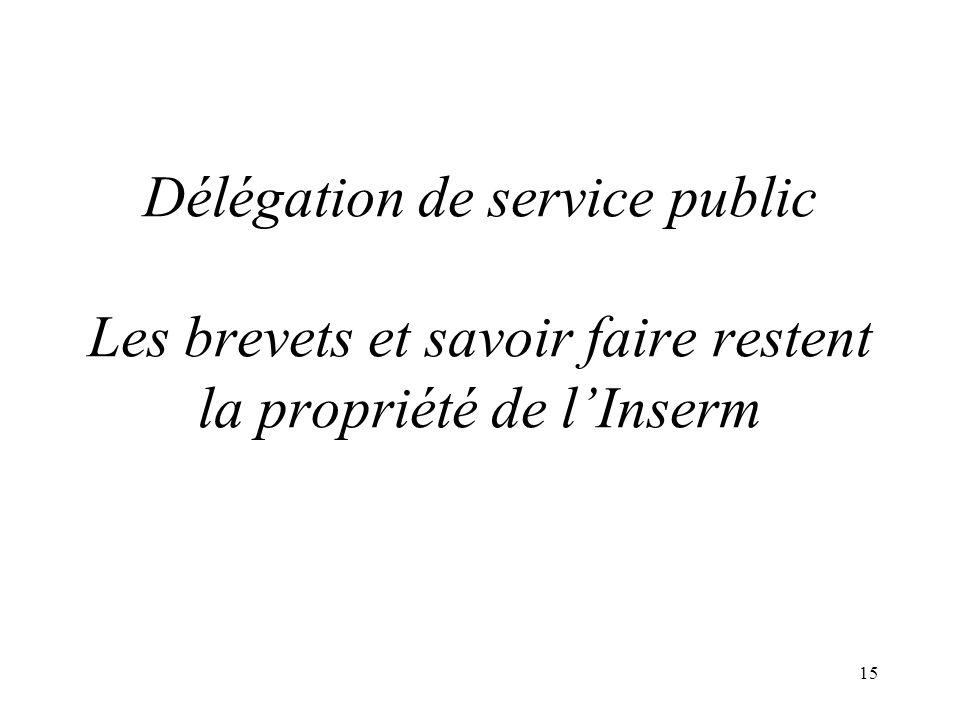 DUs 15 Mars 200614 « Filiales » détablissements français Inserm Transfert INRIA Transfert BioTop CEA Valorisation INRA Transfert FIST Filiale InsermIN