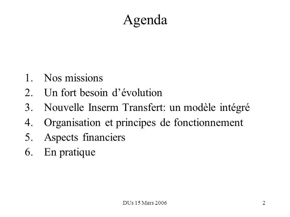 DUs 15 Mars 20062 Agenda 1.Nos missions 2.Un fort besoin dévolution 3.Nouvelle Inserm Transfert: un modèle intégré 4.Organisation et principes de fonctionnement 5.Aspects financiers 6.En pratique