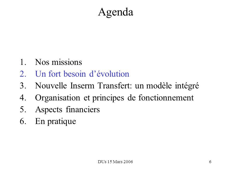 DUs 15 Mars 200616 Agenda 1.Nos missions 2.Un fort besoin dévolution 3.Nouvelle Inserm Transfert: un modèle intégré 4.Organisation et principes de fonctionnement 5.Aspects financiers 6.En pratique