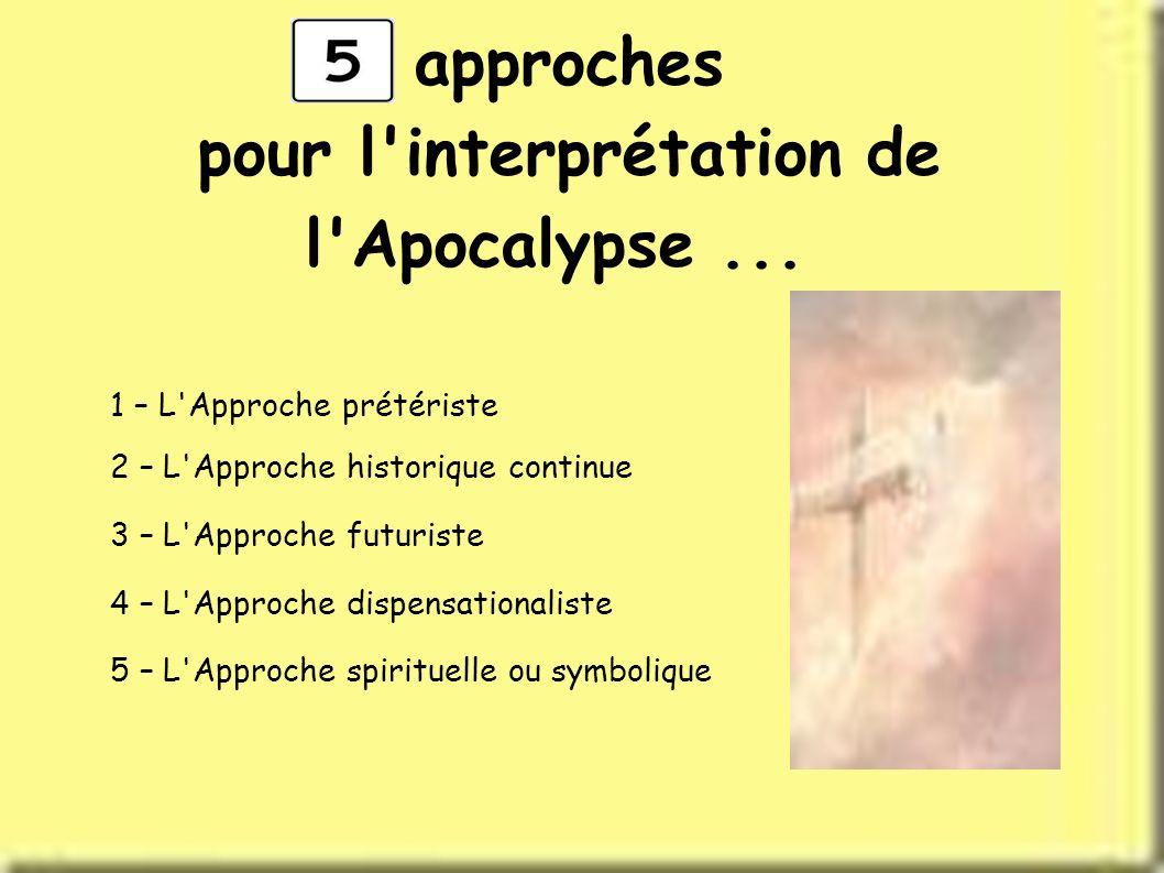 approches pour l'interprétation de l'Apocalypse... 1 – L'Approche prétériste 2 – L'Approche historique continue 3 – L'Approche futuriste 4 – L'Approch