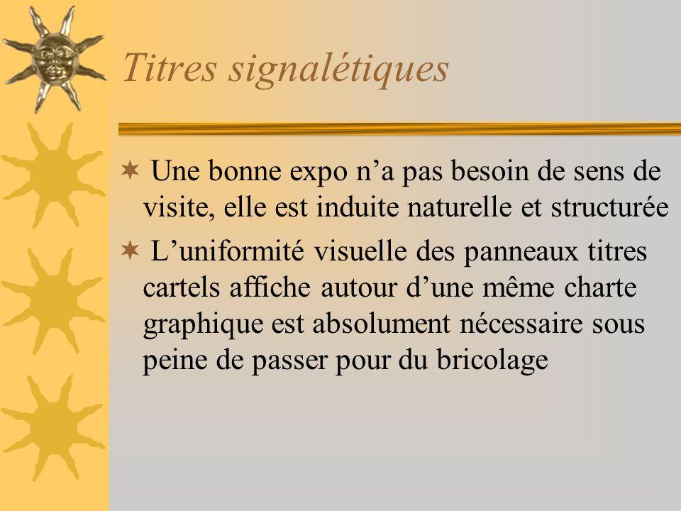 Titres signalétiques Une bonne expo na pas besoin de sens de visite, elle est induite naturelle et structurée Luniformité visuelle des panneaux titres