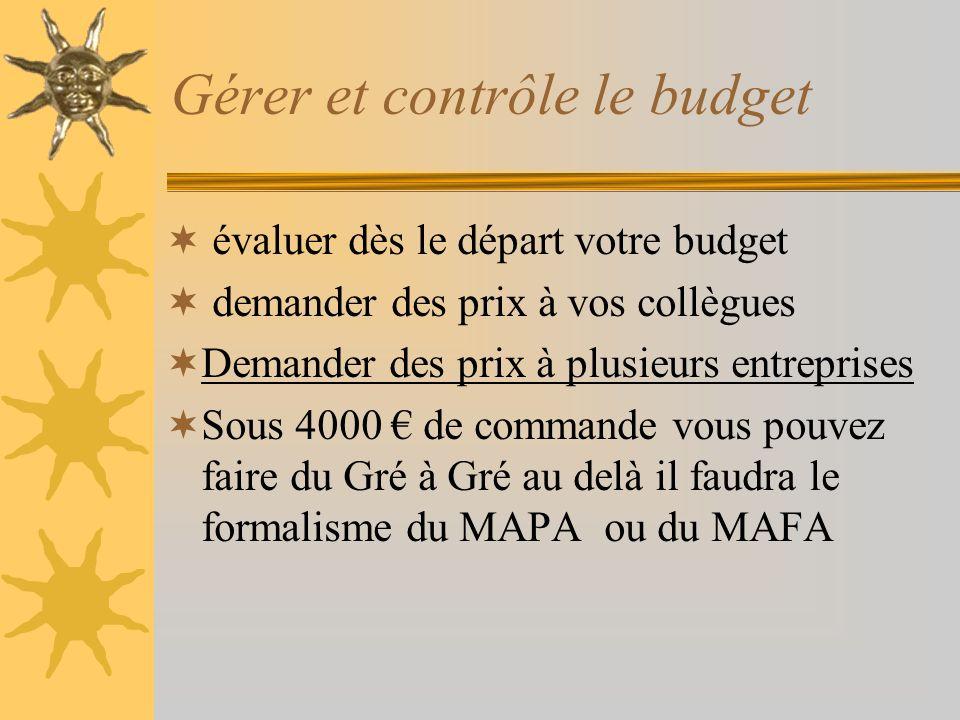 Gérer et contrôle le budget évaluer dès le départ votre budget demander des prix à vos collègues Demander des prix à plusieurs entreprises Sous 4000 d