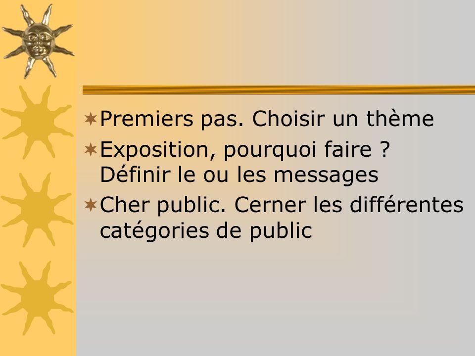 Premiers pas. Choisir un thème Exposition, pourquoi faire ? Définir le ou les messages Cher public. Cerner les différentes catégories de public