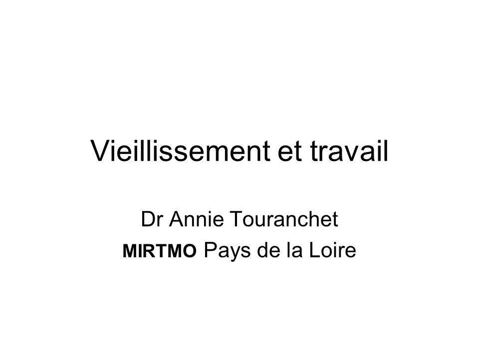 Vieillissement et travail Dr Annie Touranchet MIRTMO Pays de la Loire