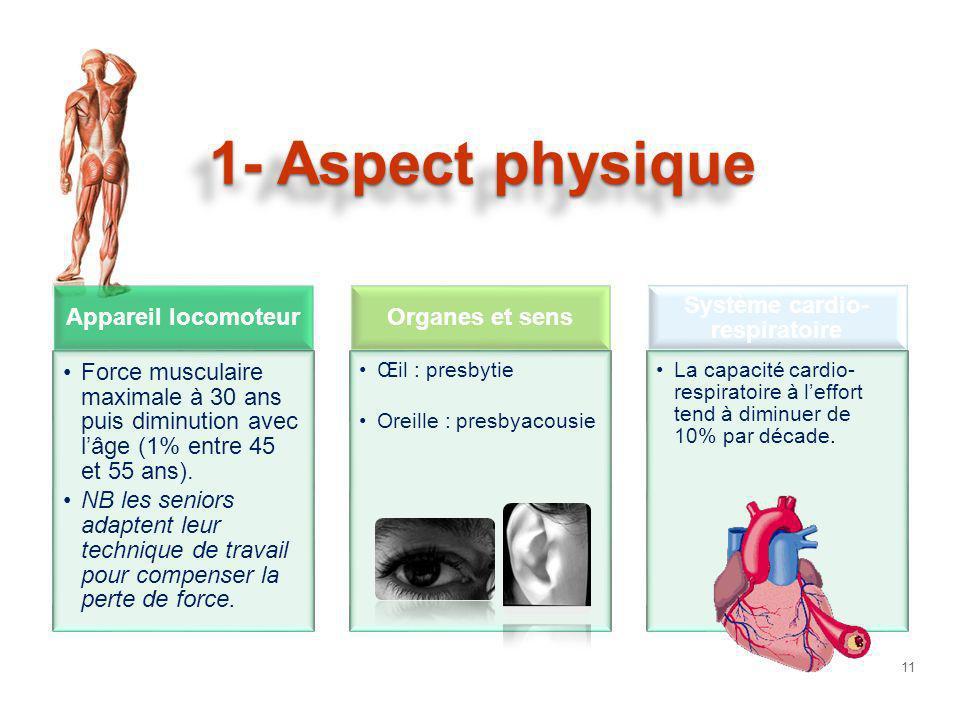 1- Aspect physique Appareil locomoteur Force musculaire maximale à 30 ans puis diminution avec lâge (1% entre 45 et 55 ans). NB les seniors adaptent l