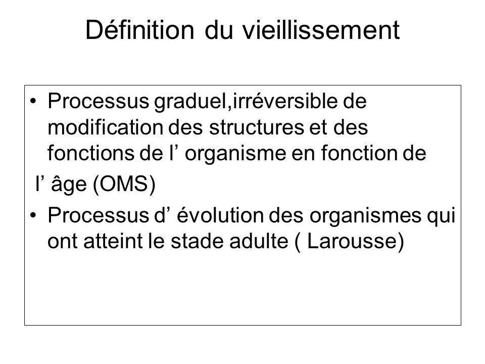 Définition du vieillissement Processus graduel,irréversible de modification des structures et des fonctions de l organisme en fonction de l âge (OMS) Processus d évolution des organismes qui ont atteint le stade adulte ( Larousse)