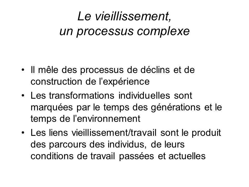 Le vieillissement, un processus complexe Il mêle des processus de déclins et de construction de lexpérience Les transformations individuelles sont mar
